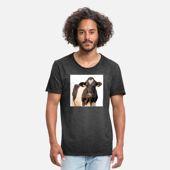 Rainbow Flag T-Shirts - Cow. Cow isolated - Men's Vintage T-Shirt washed black
