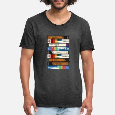 Movie VHS video cassette with nerd movies of the 80`s - Men's Vintage T-Shirt
