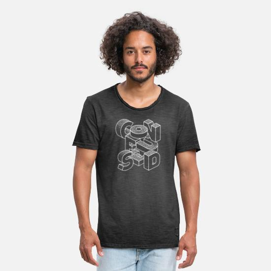 Black And White Collection T-Shirts - Confused - Men's Vintage T-Shirt washed black