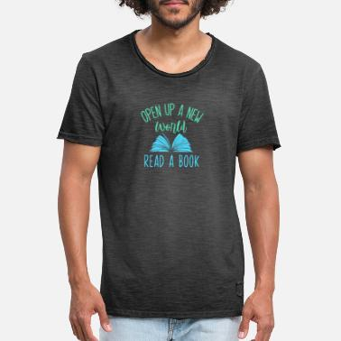 Open up a new world - read a book - Vintage T-shirt herr