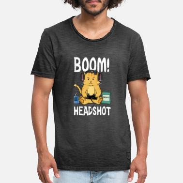 Boom Head Shot Boom Headshot / Boom head shot / Cat / Gaming - Men's Vintage T-Shirt