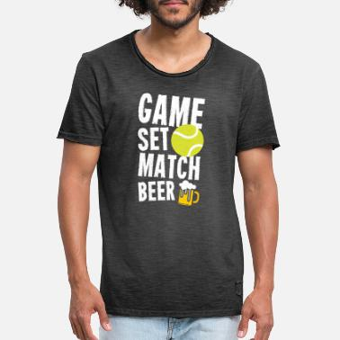 Set Tennis Sport Lover Game Set Match Beer Verjaardag - Mannen vintage T-shirt