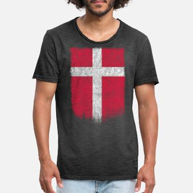 Vintage Danish Flag Shirt Danmark Flag T-shirt Grunge Retro Design - Vintage T-shirt mænd
