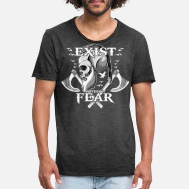 Wotan EXIST WITHOUT FEAR - SKULL AX CROW VIKING presenter - Vintage T-shirt herr