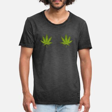 Leaf Womens Cannabis Leaf Boobs Stoner Weed T-shirt - Mannen vintage T-shirt