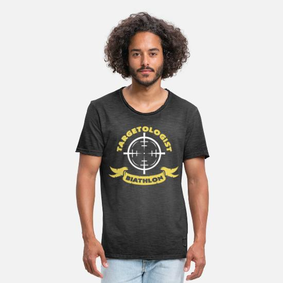 Ski T-Shirts - Biathlon crosshair - Men's Vintage T-Shirt washed black