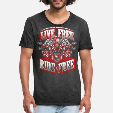 Ride Free Motard Motocycliste Live Free Ride Free - T-shirt vintage Homme