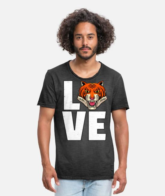 Sumatran Tiger T-Shirts - Tiger big cat predator leopard cheetah - Men's Vintage T-Shirt washed black