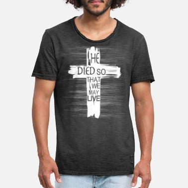 Cross Symbol Christianity Religious Saying Died Live - Men's Vintage T-Shirt