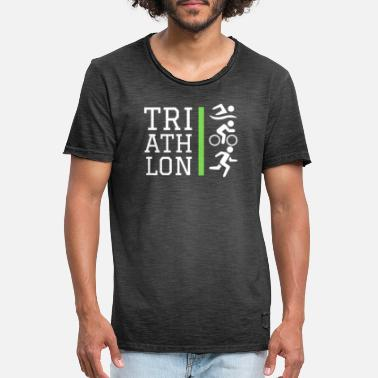 Triathlon Icons Design Green - Men's Vintage T-Shirt