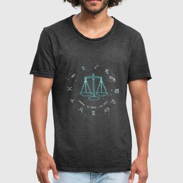 Libra Zodiac Horoscope October glowing star - Men's Vintage T-Shirt