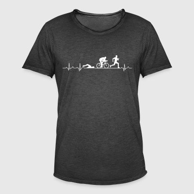Hartslag van een triathlete - triathlon Hearbeat - Mannen Vintage T-shirt