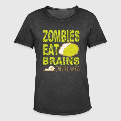 ZOMBIES ETEN BRAINS T-SHIRT - Mannen Vintage T-shirt