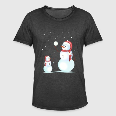 Santa, snowman, playing his son - Men's Vintage T-Shirt