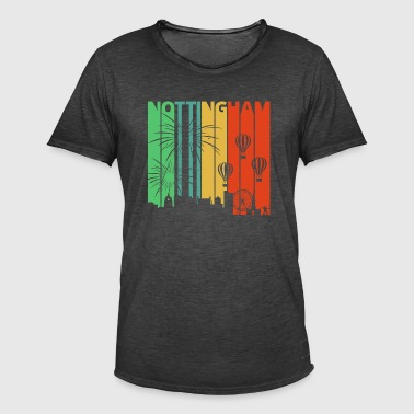 Vintage Retro Nottingham Skyline. Cityscape Gifts - Men's Vintage T-Shirt