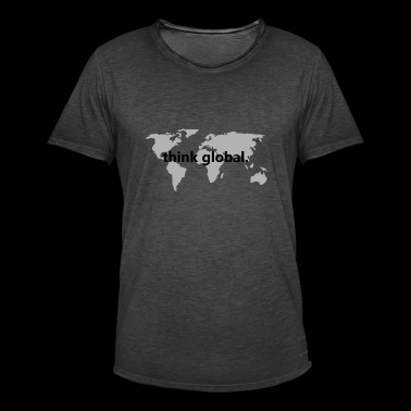 tenk global - Vintage-T-skjorte for menn