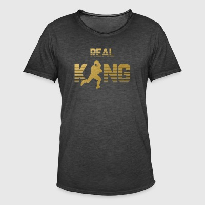 Real King - Football Quarterback Touchdown Sports - Mannen Vintage T-shirt