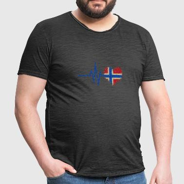 My heart beats for Norway - heart glitter - Men's Vintage T-Shirt