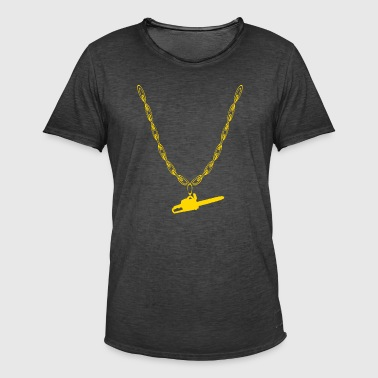 Chain saw woodcutter gold chain - Men's Vintage T-Shirt