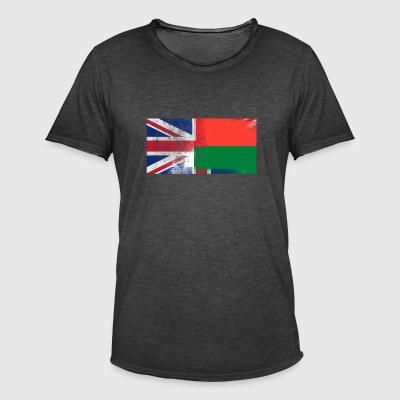 British gassiske Madagaskar Half Half UK Flag - Vintage-T-skjorte for menn