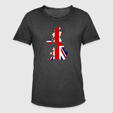 UK Map Flag - Vintage-T-shirt herr