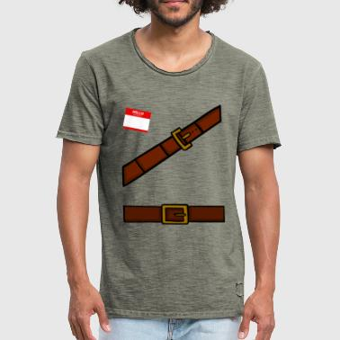 Adventurer Costume with Name Plaque - Men's Vintage T-Shirt