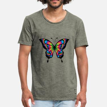 Rainbow Butterfly Abstract colorful rainbow colored butterfly - Men's Vintage T-Shirt