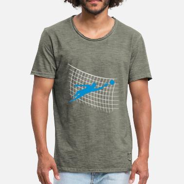 Målvakt Fotboll nätmönster målvakt torhueter hålla fotboll - Vintage T-shirt  herr b7109f9eed605