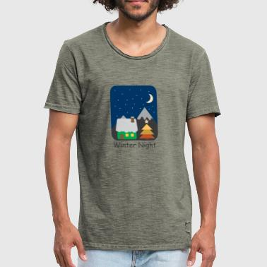 Winter night Christmas full moon stars sky - Men's Vintage T-Shirt