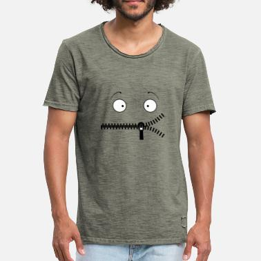 Zipper Zipper Mouth - Mannen Vintage T-shirt