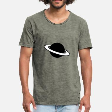 Saturn Ring Planet Silhouette Icon - Männer Vintage T-Shirt