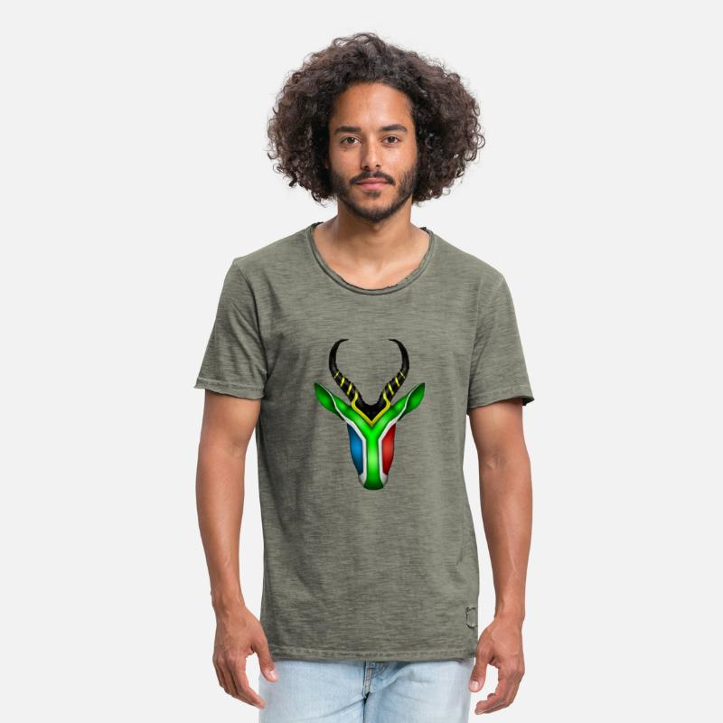 South Africa T-Shirts - South African Springbok 2 - Men's Vintage T-Shirt vintage khaki
