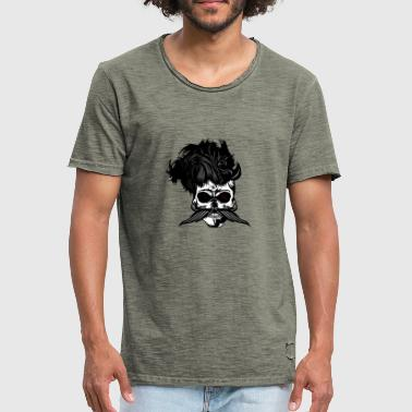head of death hipster crane mustachioed punk hairstyle - Men's Vintage T-Shirt