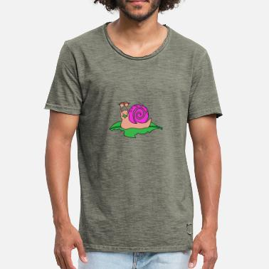 Motif Snail Animal motif Snail with pink snail shell - Men's Vintage T-Shirt
