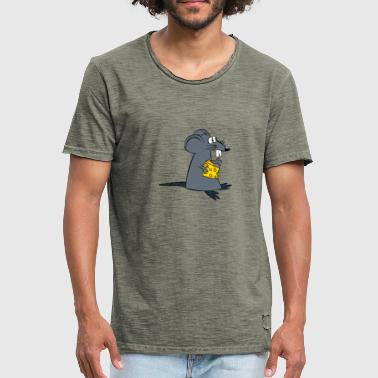 Mouse with cheese - Men's Vintage T-Shirt
