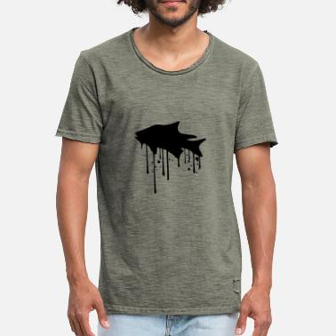 Fishing Graffiti graffiti drops spray stamp fish fishing swim - Men's Vintage T-Shirt