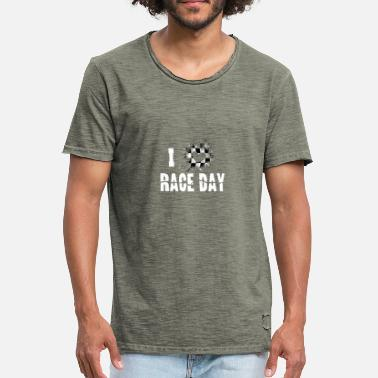 Race Day I Love Race Day Checkered Flag Heart Race Weekend - Men's Vintage T-Shirt