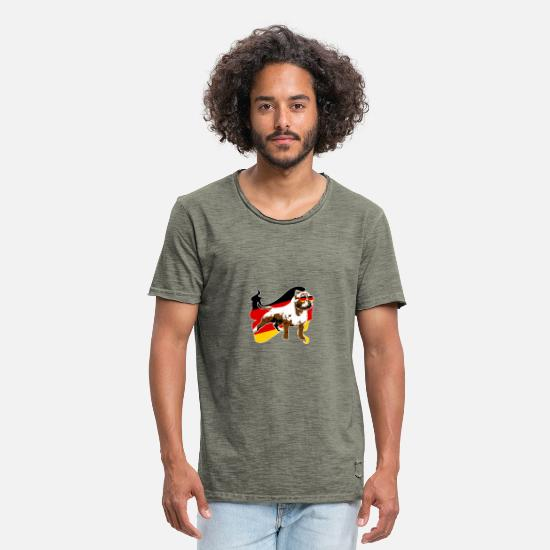 Sunglasses T-Shirts - Patriotic Pit Bull German Flag - Men's Vintage T-Shirt vintage khaki