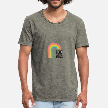 Good Vibes - Colorfull Rainbow Design - Maglietta vintage da uomo