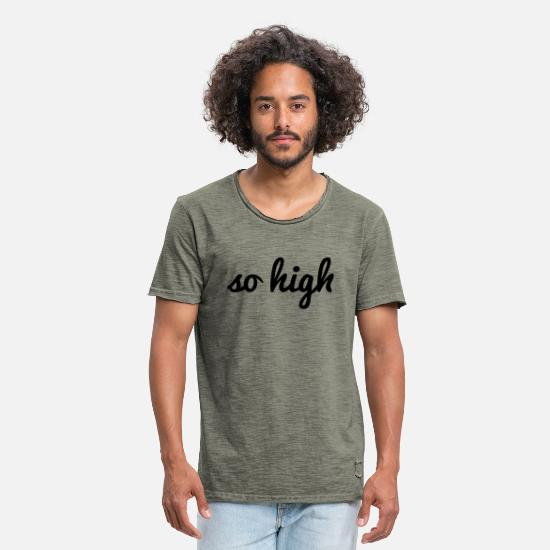 Dope T-Shirts - so high - Männer Vintage T-Shirt Vintage Khaki