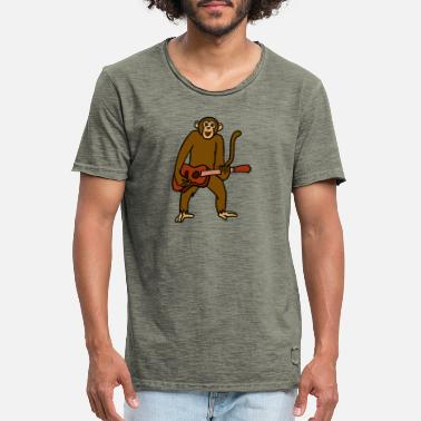 Pun Monkey Playing Guitar Rock Guitarist Cartoon - Men's Vintage T-Shirt