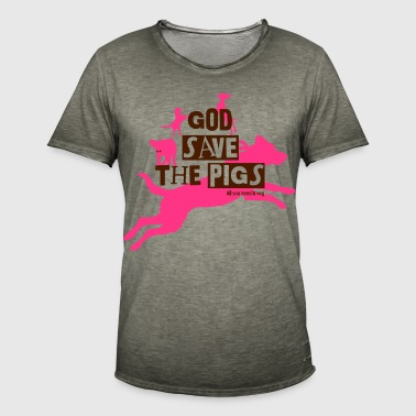God save the pigs Color - Männer Vintage T-Shirt
