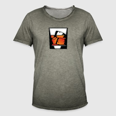 Tumbler Of Whiskey And Ice Cubes - Men's Vintage T-Shirt