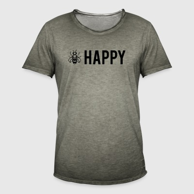Bee Glad - Be Happy - Vintage-T-skjorte for menn