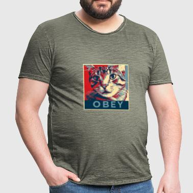 Obey the Cat! - Männer Vintage T-Shirt