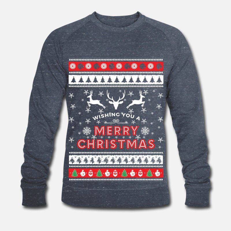 Ugly Christmas Pullover & Hoodies - Ugly Christmas Sweater - Merry Christmas - Männer Bio Pullover Navy meliert