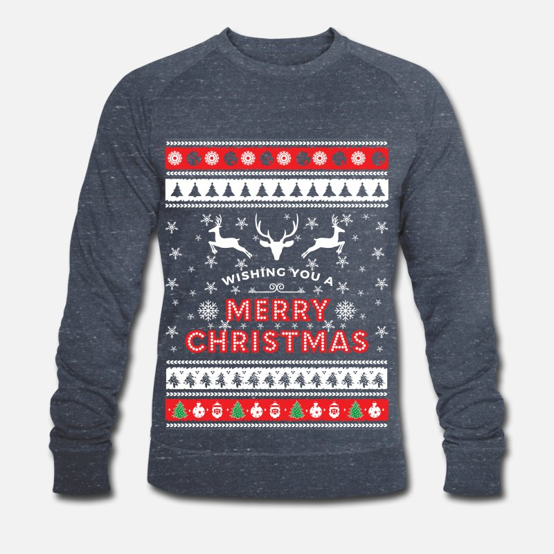 Christmas Pullover & Hoodies - Ugly Christmas Sweater - Merry Christmas - Männer Bio Pullover Navy meliert