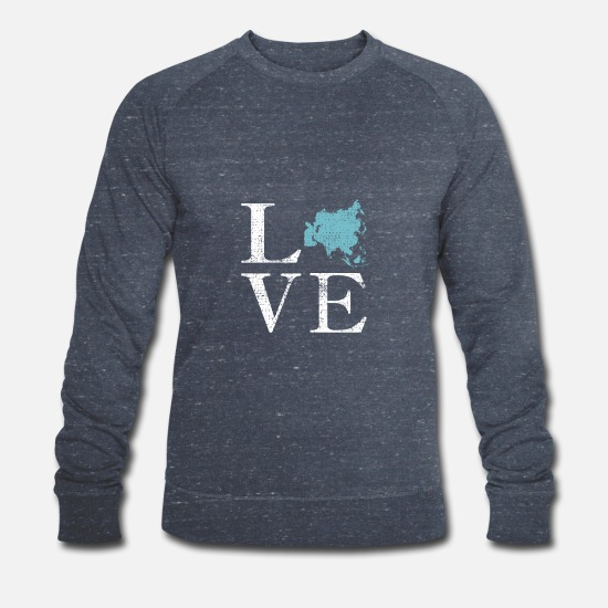 Continent Hoodies & Sweatshirts - Love continent asia world travel gift - Men's Organic Sweatshirt heather navy