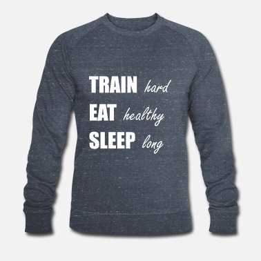 Muskel 009 train hard eat healthy weiss - Männer Bio Pullover