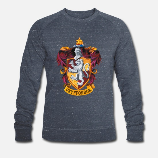 Harry Sweat-shirts - Harry Potter Emblème Gryffondor Peinture - Sweat-shirt bio Homme marine chiné